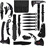 Blade Factory 15pc Tactical Survival Set| 2 Fixed Blade Knives | 2 Hatchet Axes| Fixed Karambit | Folding Karambit| Multitool Pocket Knife| Mini Neck Knife| 6 Throwing Knives | Holt Multitool Keychain