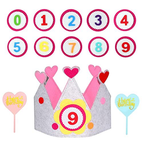 Leikedun Geburtstagskrone Kinder, Geburtstag Kinderkrone, Krone aus Stoff zum Geburtstag, Geburtstagskrone Kinder Krone für Jungs undMädchen,Auswechselbaren Zahlen von 0-9