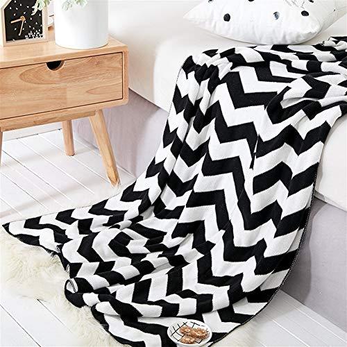 Versátil Sofá Lanza Caliente Manta Gruesa Sillón Cubierta Suave sofá (Color : Black White, Size : 130x160cm)