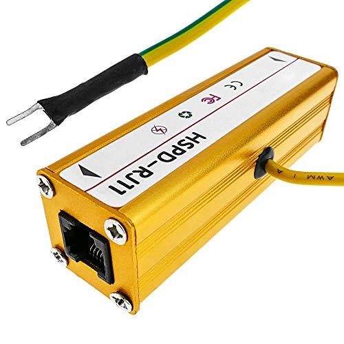 BeMatik - Protector de sobretensión y descargas eléctricas para teléfono RJ11 10KA...