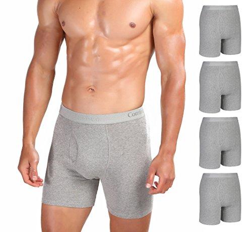 Comfneat Herren Boxershorts Baumwolle Unterhosen Ultra Weich Komfortable Retroshorts 5er Pack (Grau 5er Pack, XL)