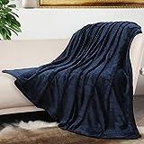 Bertte Throw Blanket Super Soft Cozy Warm Blanket 330 GSM Lightweight Luxury Fleece Blanket for Bed Couch- 50'x 60', Navy