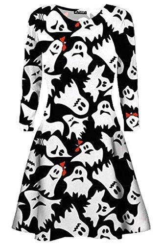Halloween-Kleid für Damen, mit Totenkopf, Katze, Geister, Kürbis, lange Ärmel, Party-Skater Gr. 46-48, Ghost White Black
