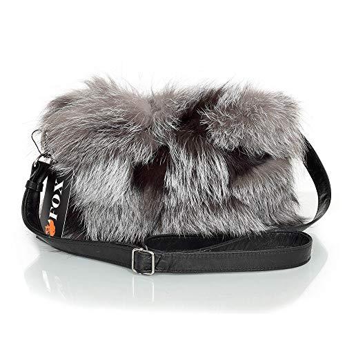 FOX FASHION Damen Umhängetasche mit Reißverschluss aus Silberfuchs Fell Pelztasche Handtasche Fuchs Fell Pelz Grau Fuchspelz Tasche Echtfell Silber Felltasche Echt