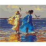 Medigy Pintura al óleo de DIY por números Adultos Regalos de San Valentín sin Marco Pigmentos acrílicos no tóxicos 16x20IN-Love-Beach