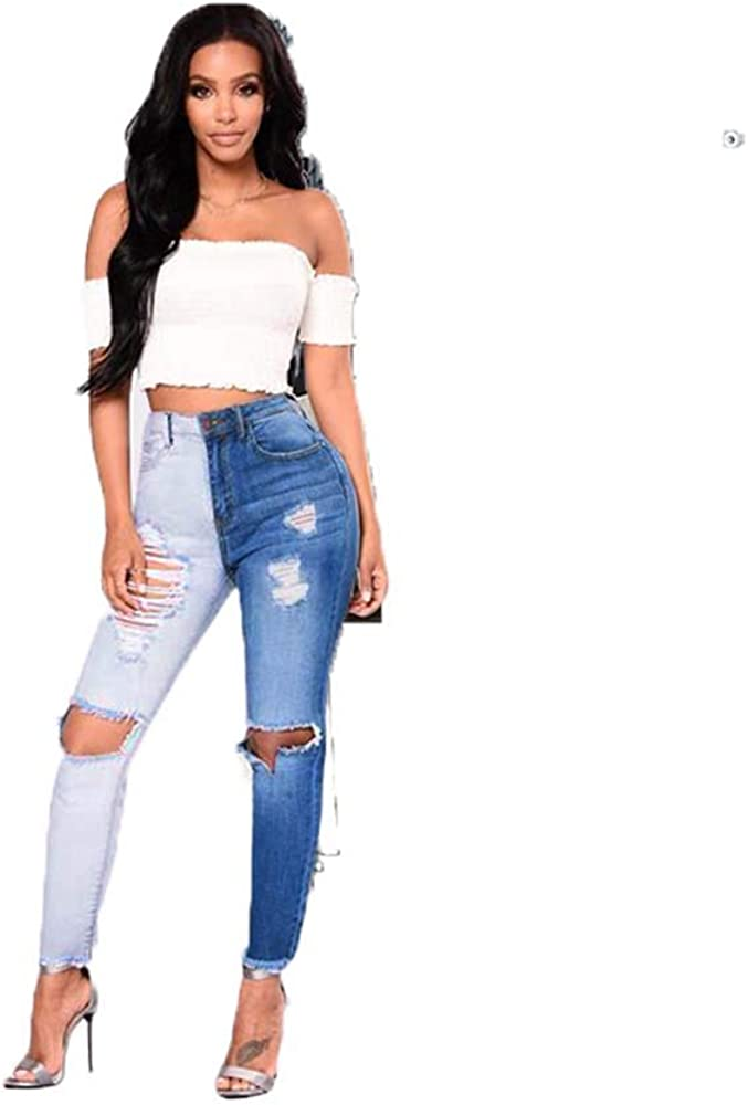 Lisskolo Women's Colorblock Skinny Ripped Jeans Mid Rise Stretch Denim Pencial Pants