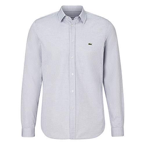 Lacoste Herren CH7544 Oberhemd Langarm, Männer Hemd,kariert, Slim Fit,White/Iodine(PGC),40 EU (40)