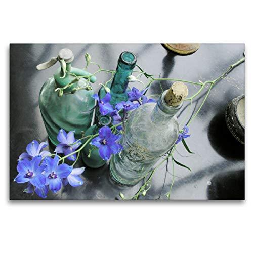 Premium Textil-Leinwand 120 x 80 cm Quer-Format Drei alte Flaschen mit blauem Rittersporn | Wandbild, HD-Bild auf Keilrahmen, Fertigbild auf hochwertigem Vlies, Leinwanddruck von Gisela Kruse