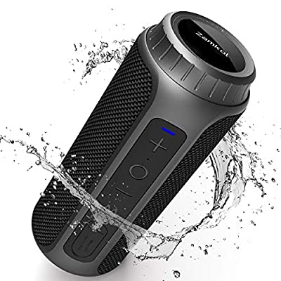Bluetooth Speaker 5.0, Zamkol Portable Wireless Outdoor Speakers Enhanced Bass, 30W and 10H Playtime, 360° Full Surround Sound, IPX6 Waterproof, for iPhone, Samsung, Huawei, Computer and More by Zamkol