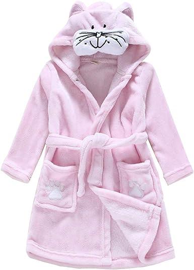 Little Boys Girls Bathrobes Toddler Kids Cartoon Hooded Plush Robe