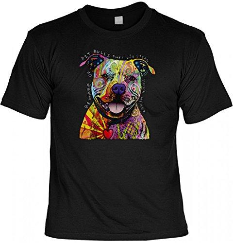 Neon T-Shirt - Bunter Hund - Pitbull Herzensbrecher - Motivshirt als tolle Geschenk Idee mit Aufdruck für Hundefreunde, Größe:4XL