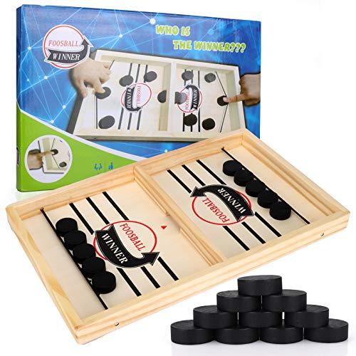 GUBOOM Hockey Brettspiel, Schnelles Fast Sling Puck-Spiel, Tischhockey Spielzeug, 2 in1 Interaktion Tischhockey Katapult brettspiel, Kind Interaktives Spielzeug Partyspiel (A)