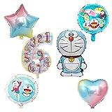 Djujiabh Globos Doraemon Globos de Helio y número de Globos gradiente Hoja hincha 6pcs for Globos de la Fiesta de cumpleaños (Color : 6pcs Mix Doraemon, Shape : Number 7)