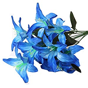 Artfen Artificial Lily 10 Heads Fake Lily Artificial Flower Wedding Bouquet Party Decor Bouquet Home Hotel Office Garden Craft Art Decor
