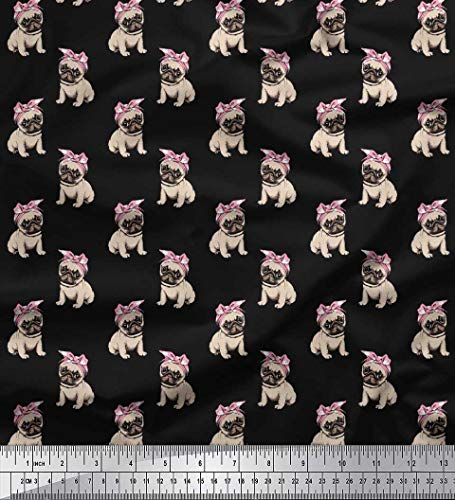 Soimoi Black Cotton Cambric Fabric Pug Dog Print Sewing Fabric BTY 42 Inch Wide
