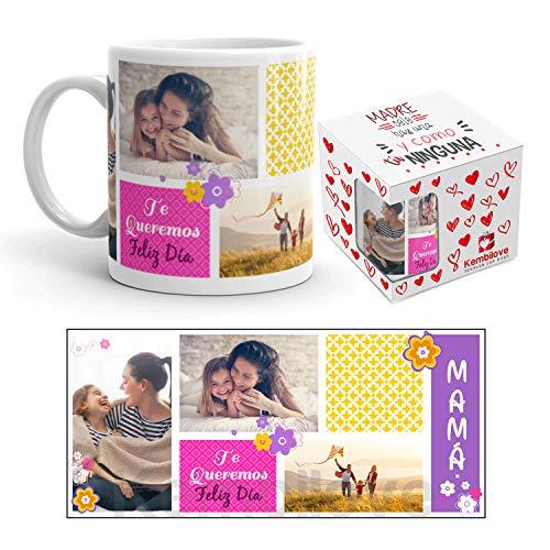 Kembilove Tazas Desayuno Feliz día de la Madre – Taza de Desayuno Te Queremos Mamá – Taza de Café para Mamá Personalizada con Foto – Taza Desayuno Regalos Originales Madres