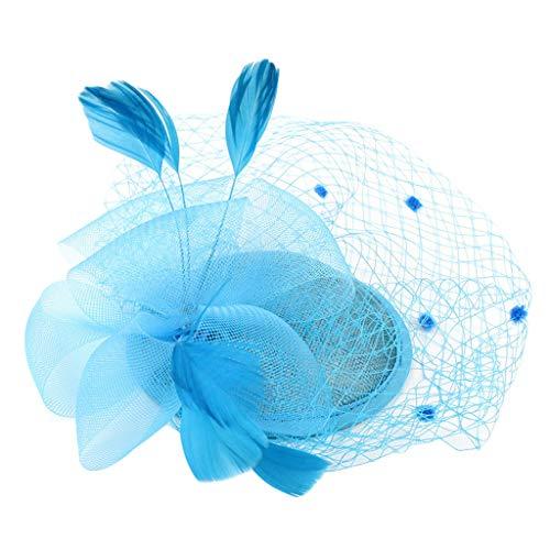 DAIFINEY Haarschmuck Kopfschmuck Haar Clip Schleier Kleine Mini Top Hut Mode Haarbänder Haarspangen haarreif Kopfbedeckungen Blumenkranz Braut Kopfschmuck Schleier Kranz Schleier Blau/Blue