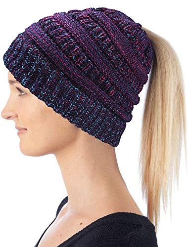 Hatstar Damen und Mädchen Wintermütze Strickmütze mit Zopfloch für Pferdeschwanz Ponytail Beanie, 30W, meliert lila-pink-türkis