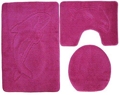 Ilkadim Delphin Badgarnitur 3 TLG. Set 55x85 cm einfarbig, WC Vorleger mit Ausschnitt für Stand-WC (pink)