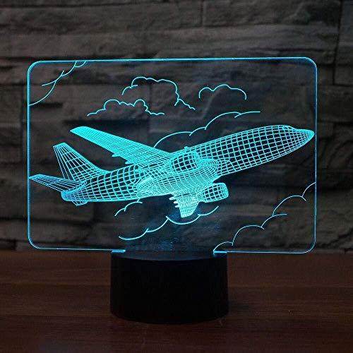 Linterna Mágica 3D Luz De Noche Led Avión Creativo Avión De Control Remoto 7 Colores Cambiantes Lámpara De Mesa Bombilla Óptica Decoración De La Habitación Iluminación Para Dormir
