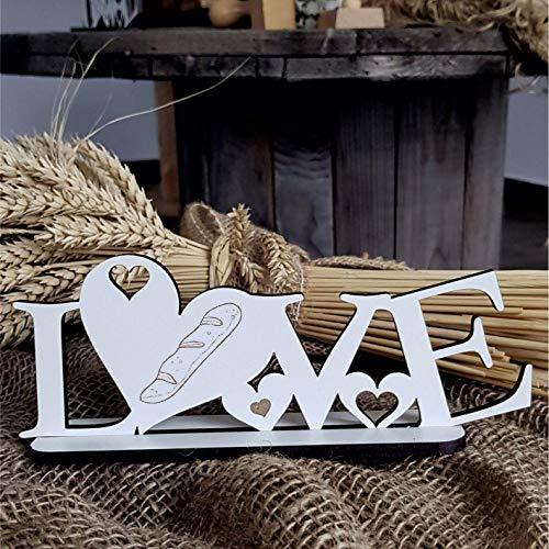 Deko Aufsteller LOVE mit Herzen und Motiv « BAGUETTE » Größe ca. 20 x 8 cm - Dekoration Schild Home Accessoires - Stangenweißbrot Essen Frankreich