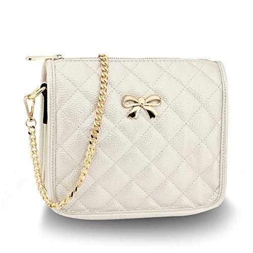Ladies Cross Over Body Shoulder Handbag Womens Crossbody Bags Messenger New, Design 2 Ivory