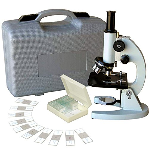 AmScope M60A-ABS-PS25 Beginner Microscope Kit, Mirror Illumination, WF10x and WF16x Eyepieces, 40x-640x Magnification, Includes Case and Set of 25 Prepared Slides