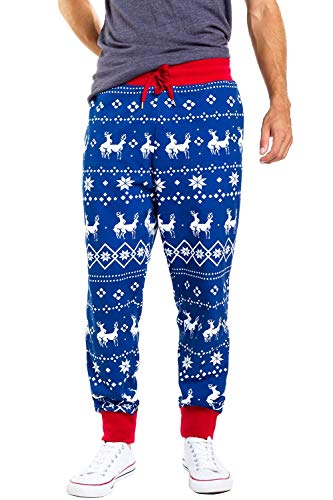 Tipsy Elves Men's Blue Humping Reindeer Climax Joggers - Funny Comfy Christmas PJ Pants for Guys: L