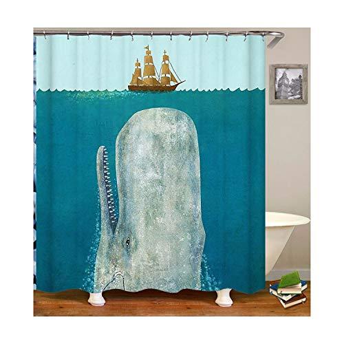 MaxAst Wal Duschvorhang Anti Schimmel, Blau Badewanne Vorhang 180x200CM, Antibakteriell Wasserdicht mit Kunststoff Ringe Kein Rost
