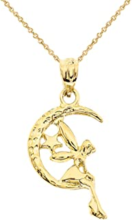 14k Tinkerbell Fairy Tale on The Moon Charm Pendant Necklace