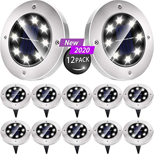 Biling Solar Disk Lights Outdoor, 8 LED Bulbs Solar Ground Lights Outdoor Waterproof for Garden Yard Patio Pathway Lawn Driveway - White (12 Pack)