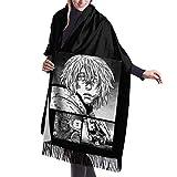 Bufanda de mantón Mujer Chales para, Vinland Saga-Thorfinn Scarf, bufanda estampada con flecos de cachemir cálido de invierno unisex para hombres y mujeres