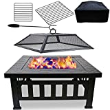 Hisencn Firepit Wood Burning, Outdoor Fire Pit, 32 inch Metal Square Heavy Duty Table Firepit, Backyard Garden Stove with Spark Screen, Cover, BBQ Cooking Grate, Logs Poker and Charcoal Grill Rack