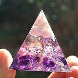 DNAMAZ Cristalli Albero a Mano of Life Orgone Piramide Opale Rosa con Ametista Quarzo Orgonite energia EMF Protection Moltiplicatore Ametista (Size : 60mm)