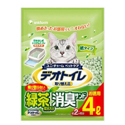 ユニチャーム デオトイレ 飛散らない緑茶成分入り消臭サンド4L×4袋セット