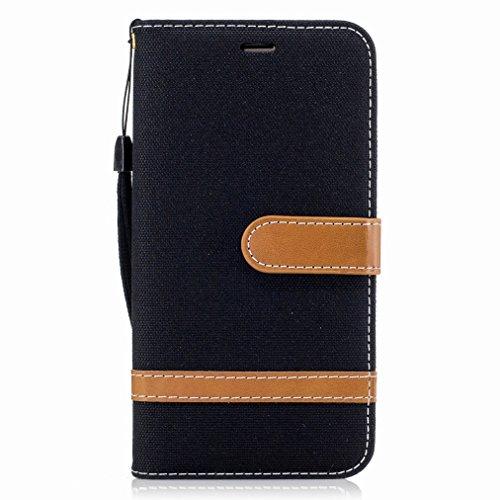 Yiizy Samsung Galaxy J5 (2016) / J510FN / J510F Cover Custodia, Modello del Cowboy Silicone Custodia Cover Portafoglio PU Pelle Cuoio Copertura Schede Cavalletto Stile Libro Protettivo Borsa (Nero)