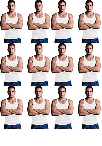 Andrew Scott Men's 12 Pack Color Tank Top a Shirt (Large 42-44, 12 PK- Bright White)