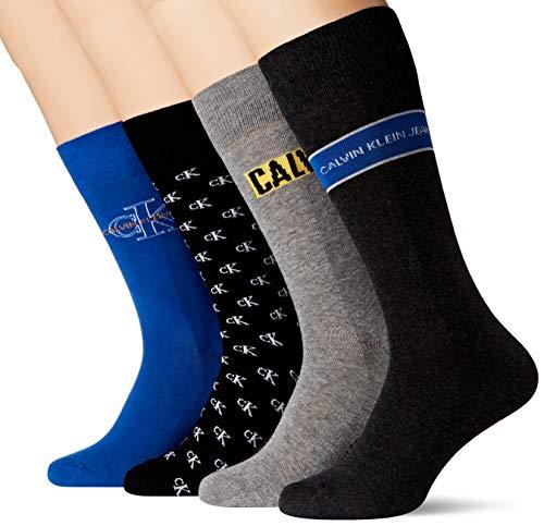 Calvin Klein Men Jeans Logo Crew Socks 4p giftbox Calcetines, azul, Talla única para Hombre