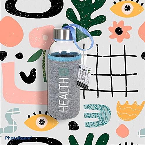 Botella de Agua de Cristal con Funda de Algodón BEWINNER HEALTH (300 ML)