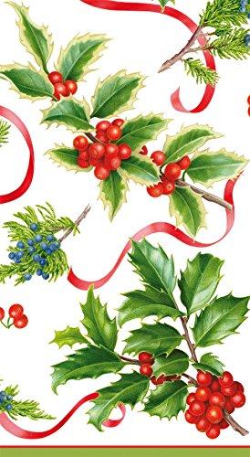 Caspari Christmas Trimmings Paper Guest Towel Napkins in Ivory - 15 Per Package
