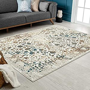 Persian-Rugs Cream 6495 Distressed 8×10 Area Rug Carpet Large New, 8′ x 10′