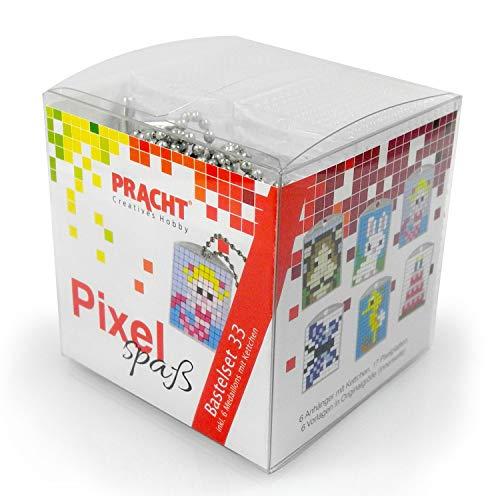 Pracht Creatives Hobby- Pixel-Juego de Manualidades (33 Unidades, para 6 medallones, Llavero, jóvenes y niñas), Color carbón (P90071-63501) , color/modelo surtido