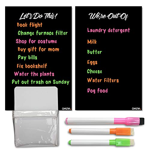 """Magnetic Dry Erase Boards for Refrigerator (2 Pieces, 6.25"""" x 9.75""""), Color Markers and Magnetic Pen Holder Set - Dry Erase Fridge To Do and Grocery List Magnet with Fridge Pencil Cup Holder"""