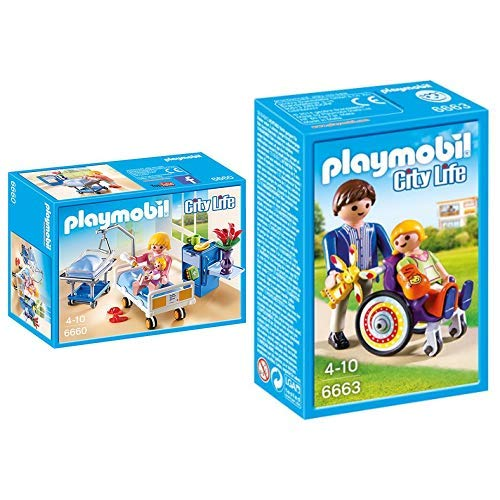 Playmobil 6660 - Krankenzimmer mit Babybett &  6663 - Kind im Rollstuhl