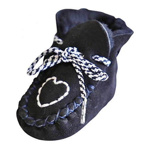 Hollert Leather Baby Lammfellschuhe Herzchen Blau Krabbelschuhe Hausschuhe Puschen - Fellschuhe aus hochwertigem Merino Schaffell Größe EUR 22/23