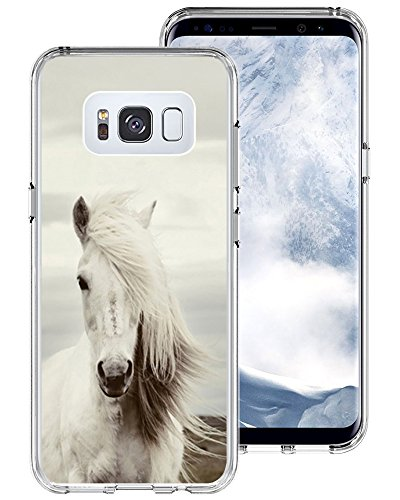 Galaxy S8 Plus Case Horse,Gifun [Anti-Slide] and [Drop Protection] Soft TPU Protective Case Cover for Samsung Galaxy S8 Plus 6.2 inch (2017) - Fashionable Hair White Horse Case