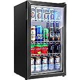 Aneken 120 Can Beverage Refrigerator and Cooler, Beer Fridge Drink Fridge with 2 Layer Glass Door Adjustable Shelves for Soda, Beer, Juice, LED Light for Home Kitchen Bar Office, 3.2Cu.Ft