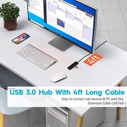 Aceele USB Hub 3.0 mit verlängertem 120cm Kabel, Ultra dünn USB Hub auf 4 USB 3.0 verlängerung, kompatibel mit Desktop-Computer, MacBook Pro/Air, iMac,Surface Pro,PS 4 und weiteren Laptops