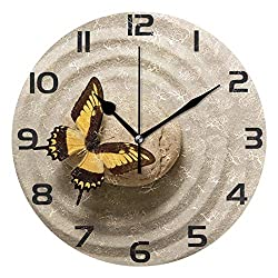 ALAZA Zen Stone with Butterfly Round Acrylic Wall Clock, Silent Non Ticking Oil Painting Home Office School Decorative Clock Art