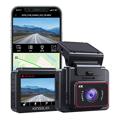 Kingslim D5 4K Dash Cam with Built-in WiFi GPS, UHD 2160P Dash Camera for Cars with 170° FOV Sony Night Vision Motion Detection Dashboard Recorder, Support 256GB Max